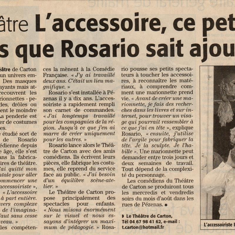 Rosario Alarcon - article de presse