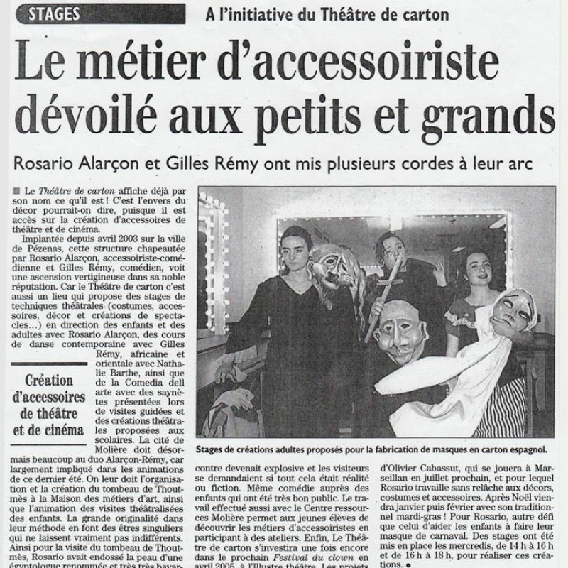 Ateliers marionnettes - article de presse